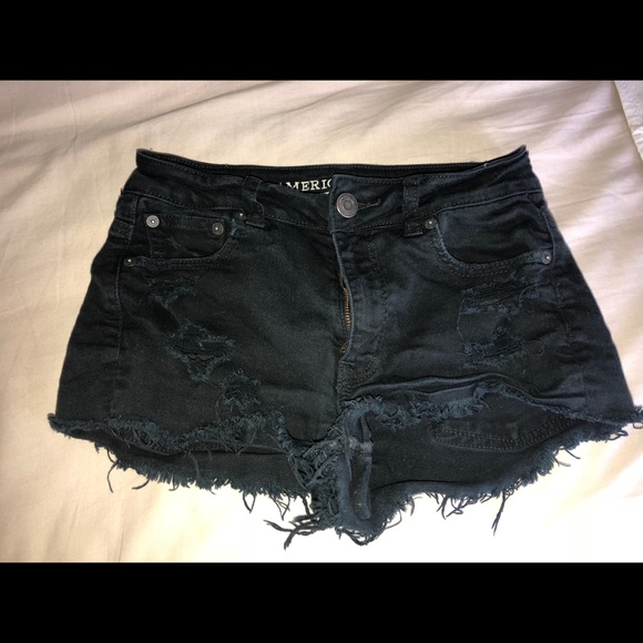 American Eagle Outfitters Pants - American Eagle black distressed denim shorts